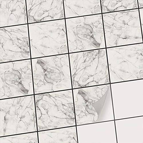 Carrelage autocollant mural salle de bain et cuisuine - carreaux de ciment adhesif / Carrelage adhésif mural - Adhésive décorative à carreaux / Design Marbre Blanc - 20x20 cm (20 pièces)