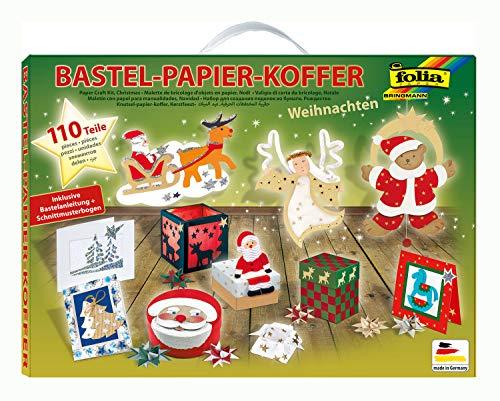 folia 922 - Bastelpapierkoffer Weihnachten, 110 Teile - Kreativset für Kinder und Erwachsene mit Bastelpapier und Dekoelementen
