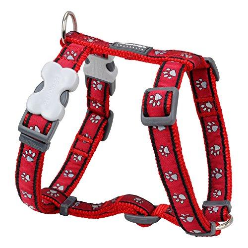 Red Dingo Arnés para Perro Desinger, Huellas Rojas (15 mm x Cuello: 30 – 48 cm/Cuerpo 36 – 54 cm) S