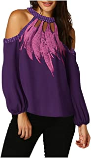 Shimigy Women Fashion Hollow Out Long Sleeve Print Blouse Sexy Off Shoulder Shirts Tops