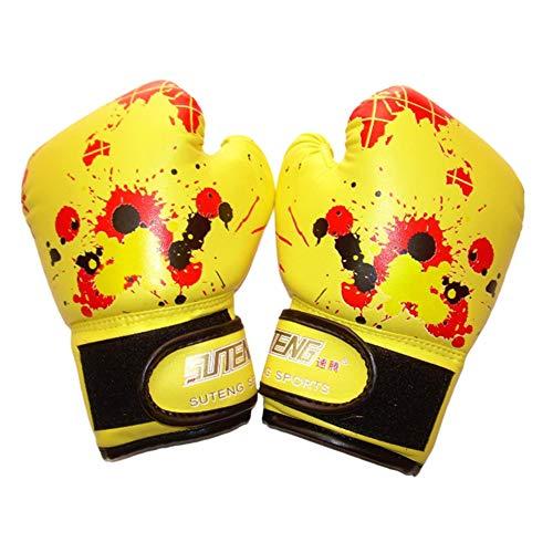 NAMYA - Guantes de boxeo ergonómicos para niños y niñas, para boxeo, para muay thai, a prueba de golpes, de piel sintética, para entrenamiento profesional de deportes de bebé, color amarillo