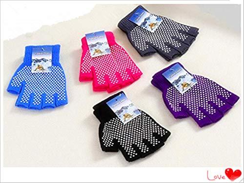 Love pro- 5 Pieces of Cotton Half Finger Yoga Gloves Yoga Cotton Non-Slip Yoga Gloves(Black. red. Blue. Gray. Purple)