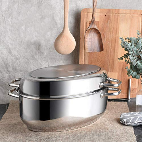 Mr. Right Stainless Steel Roasting Pan with rack,17 inch Multi-Use Oval Roaster with Lid 12 Quart + 5 Quart, Large Induction Oven Pan Heavy Duty Turkey Baking Pan Dishwasher Safe PFOA Free