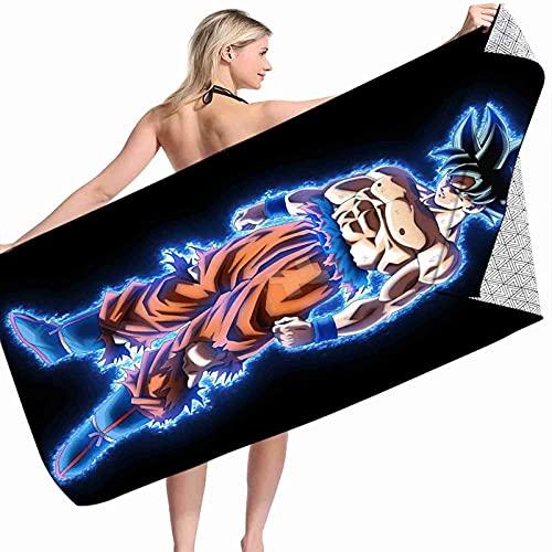 Kseyic Toalla de playa Dragon Ball 3D con dibujo de Dragon Ball Z Goku, 100% microfibra, toalla de baño, accesorios, toalla de piscina, para mujeres, niños (3,75 x 150 cm)