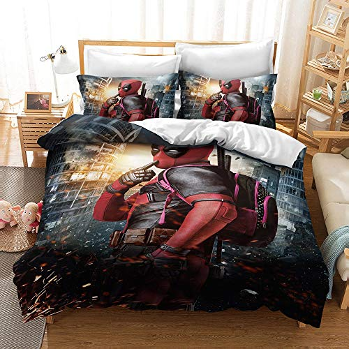 JSYJ Creative Deadpool Printed Bedding Set, 2/3 Piece 100% Microfibre Full Size Duvet Cover Bed Sheets For Children Adult Gifts(1 Duvet Cover + 1/2 Pillowcases) (Size : 200 * 200cm)