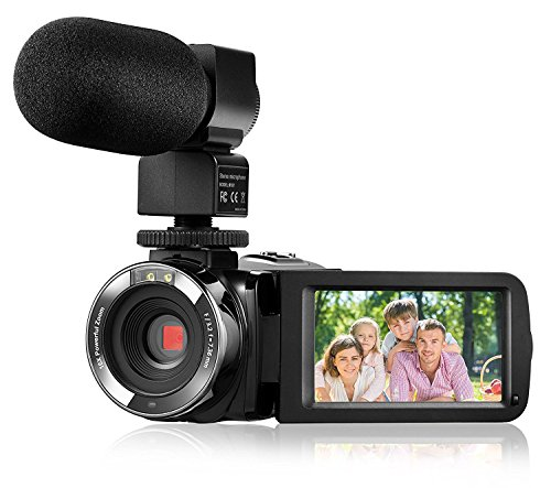 "Camera Camcorder,Onshowy Remote Control Infrared Night Vision Handy Camera HD 1080P 24MP 16X Digital Zoom Video Camera with Microphone and 3.0"" LCD 270 Degree Touchscreen and 2 Batteries (Black)"