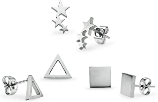 3 Pairs Stainless Steel Stud Earring Set Pierced Star Square and Triangle Silverline Jewelry