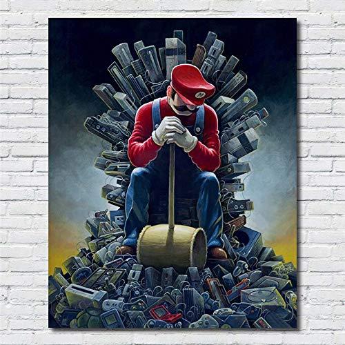 Dibujos Animados creativos Super Mario meditación Martillo Máquina de Juego Poster Wall Art Print Picture Decoración para el hogar Habitación para niños Lienzo Pintura 40 * 70 cm B