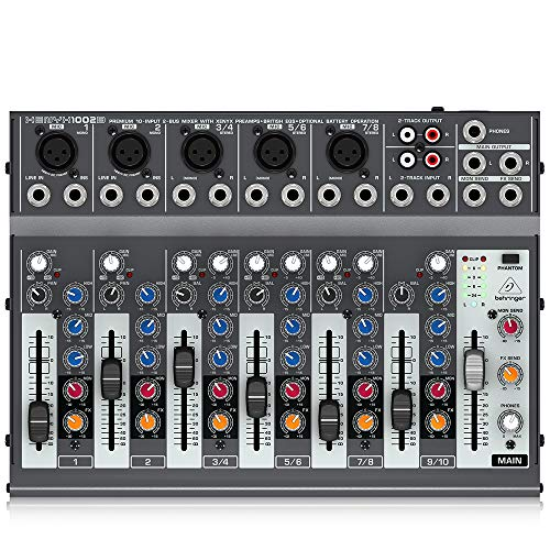 Behringer Xenyx 1002B Premium 10-Input 2-Bus Mixer with XENYX Preamps, British EQs and Optional Battery Operation. Buy it now for 109.00