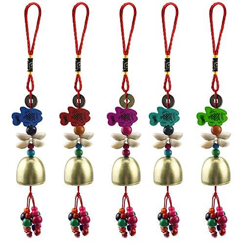 MOPOIN Windspiele, Kupfer Windspiel Fengshui Glocke Dekoration China Style Zum Aufhängen Decor Kleine Windspiele für Balkon Garten 5 Stück