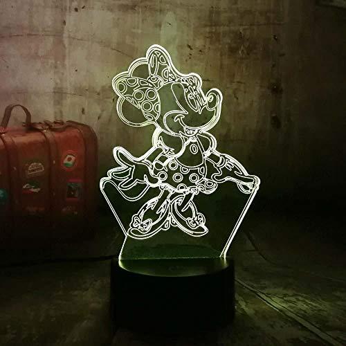 3D Illusie Licht 3D Cartoon Pretty Rok Meisje Leuke Minnie Mouse 7 Kleur Gloeiende Verloop Mood Nachtlampjes Kinderen Slapen Kerstmis Verjaardagscadeaus