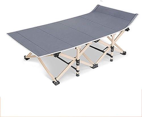 Srjh Lit Pliant Lit Simple Bureau-lit Chaise Longue De Camping En Plein Air Lit D'accompagneHommest Simple, Charge 200 Kg, gris A++ (Couleur   A)