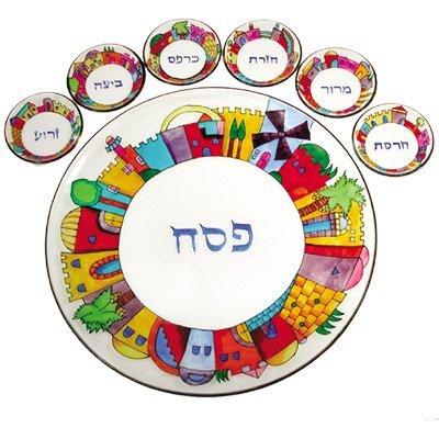 Jerusalem Hand-Painted Glass Seder Plate CAT# SPGL-1