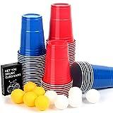 【100+10+Kartenspiel】Beer Pong Becher, Partybecher Trinkspiel Sets, 473ml Bierpong Cups mit...