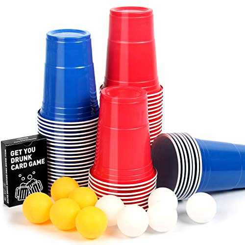 Upchase 【100+10+Kartenspiel】 Beer Pong Becher, Partybecher Sets, 473ml Bierpong Cups mit Bällen, Plastikbecher Rot und Blau 16oZ, für Weihnachten Geburtstag Festivals Hochzeit