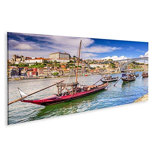 islandburner Cuadro en Lienzo Oporto, Portugal, Paisaje Urbano en el río Duero. Cuadros Modernos Decoracion Impresión Salon