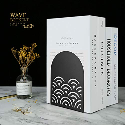 QiMing Ukiyoe Auspicious Clouds Bookends for Heavy Books,1 Pair Metal Wavy Pattern Book Holders for Office Shelves Adults & Kids Gift