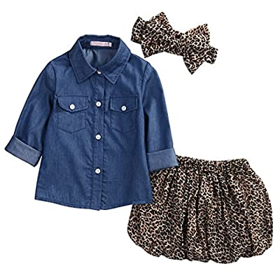3pc Cute Baby Girl Blue Jean Shirt +Princess Tulle Overlay Lace Dress+Headband (120(4-5Y), Blue+Leopard)