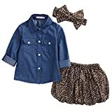 3pc Cute Baby Girl Blue Jean Shirt +Princess Tulle Overlay Lace Dress+Headband (80(0-12M), Blue+Leopard)