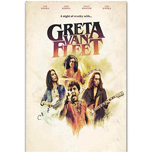 wzgsffs Greta Van Fleet 2018 Rock Music Band Tour Cover Póster De Portada Personalizado E Impresiones Arte De Pared Impresión En Lienzo Home-20X28 Inchx1 Frameless