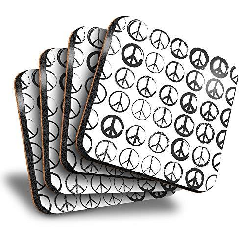 Destination Vinyl ltd Great Posavasos cuadrados (juego de 4) – Hippy Surf Peace Symbol Ink Art Drink brillante posavasos / protección de mesa para cualquier tipo de mesa #16252