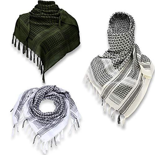 3 Pieces Desert Scarf Shemagh Head Neck Scarf Unisex Arab Keffiyeh Scarf