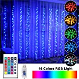 OPOLEMIN Window Curtain Lights Color Change Curtain String Lights of 300 RGB USB Powered,...