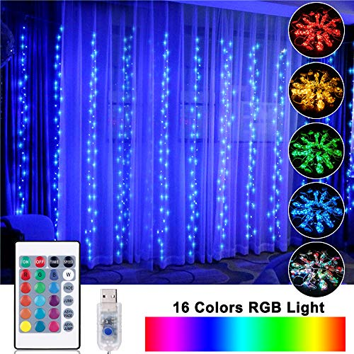 OPOLEMIN Window Curtain Lights Color Change Curtain String Lights of 300 RGB USB Powered, 16 Lighting Colors 4 Light...