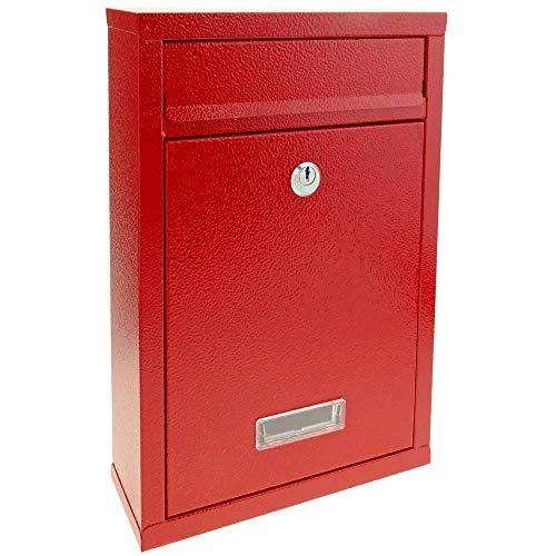 PrimeMatik - Buzón metálico para Cartas y Correo Postal de Color Rojo 215 x 80 x 315 mm