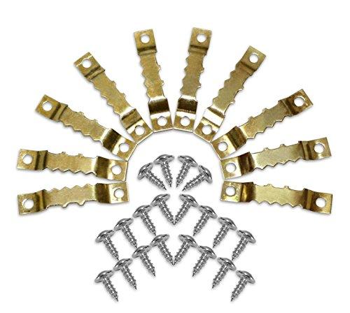 Close Up Sägezahn Aufhängenasen - Bildaufhänger für Holzrahmen, Bilderrahmen, Keilrahmen und Wechselrahmen aus Holz - 10 Stück inkl. 20 Schrauben