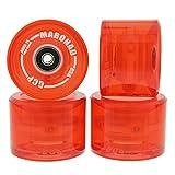 MARONAD 4 ruedas de longboard LED 85A 70 x 51 mm, incluye rodamientos ABEC11, color rojo