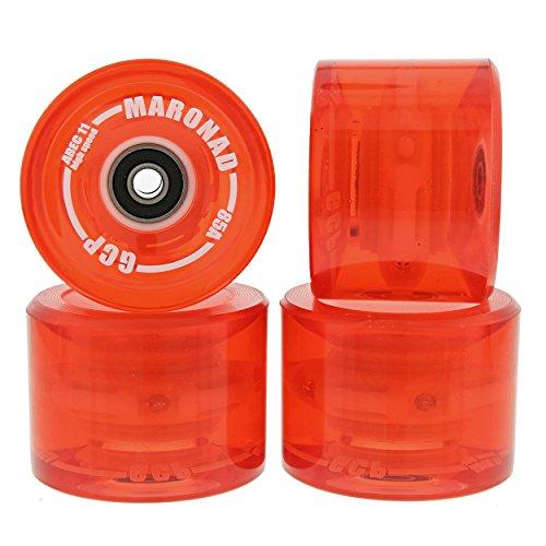 MARONAD 4 ST LONGBOARD LED RÄDER ROLLEN 85A 70X51 MM INKL ABEC11 KÜGELLAGER ROT