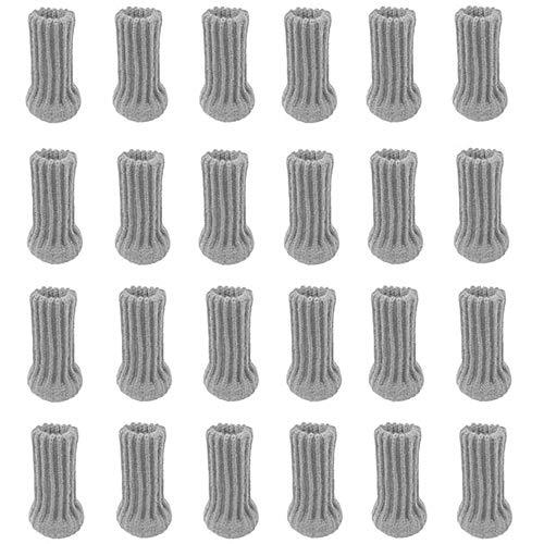 POFET 24 calzini per gambe della sedia, calzini per mobili lavorati a maglia, set di tappi per mobili antiscivolo e gambe per sedia, coprigambe e piedi, colore: grigio