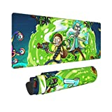 Bhutan Rick and Morty Large Mouse Pad-Extended Mouse Pad with Ultra-Fine Woven Fabric, Non-Slip Base, Waterproof Keyboard Pad, Suitable for Gaming Computers and Laptops, Black