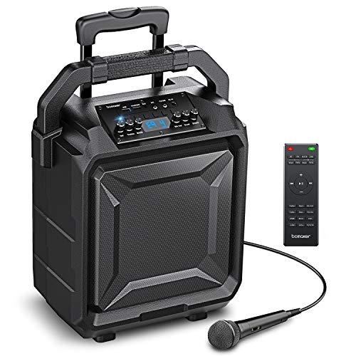 """500W Sistema de Megafonía y Anuncio con Micrófono, Equipos de karaoke, Woofer de 8"""", 6 EQ Modos, Bluetooth 5.0/ FM Radio/AUX/guitarra/USB/Guitarra, Bomaker PA Lark 01"""
