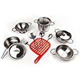 KIDAMI 13 Pieces Kitchen Pretend Toys Mini (Fit Little Baby Tiny Hands), Stainless Steel Cookware Playset, Varieties of Pots Pans, Kids Cooking Utensils (Original)