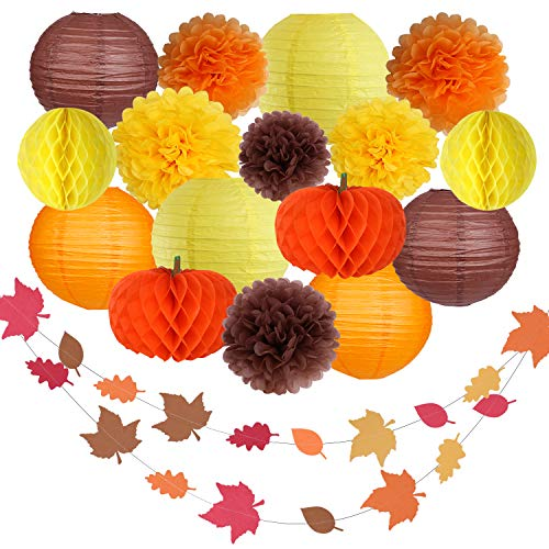Thanksgiving Party Decorations Supplies Kit Hanging Paper Lantern Tissue Honeycomb Ball Pom Poms Flowers Pumpkins Maple Leaf Garland for Halloween Night Baby Showers Home Decor Indoor Outdoor