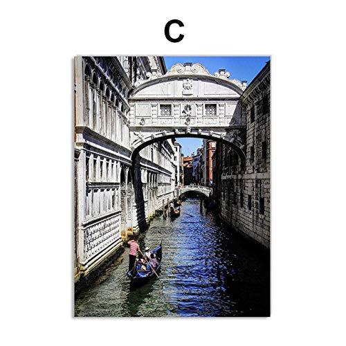 Piazza San Marco Venecia Venecia Italia Puente de la góndola Arte de la pared Pintura de la lona Cartel nórdico Cuadros de la pared para la decoración de la sala de estar 50x70cm Sin marco C