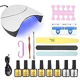Jimfoty Kit de iniciación de Esmalte de uñas de Gel de 6 Colores, lámpara de uñas con luz LED UV de 36W Esmalte de uñas Limpieza de uñas Kit de Herramientas de manicura para decoración de uñas(#1)