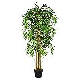 Outsunny Bambú Artificial 150cm con Maceta Árbol Planta Sintética Realista Decorativa para Casa Jardín Oficina Ø18x150 cm Verde