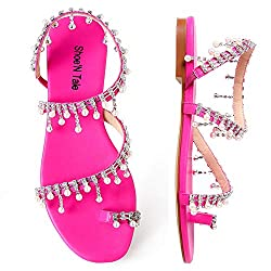 Pink-A Rhinestone Pearl Flat Gladiator Sandal With Toe Ring