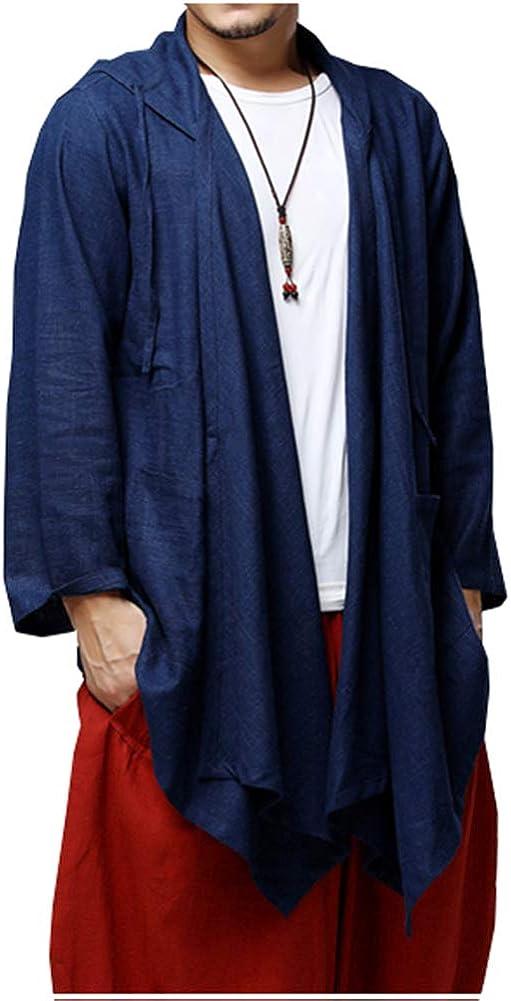 LifeHe Men's Cotton Linen Hooded Kimono Cardigan Curved Hem Jacket Coat