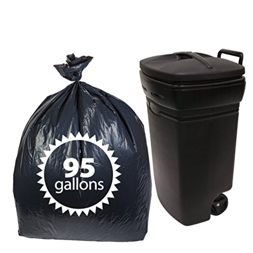 Fantastic Deal! Primode Black Plastic 95 Gallon Trash Bags 25 Count Extra Heavy Duty Garbage Bag for Indoor Or Outdoor UseMADE in The USA