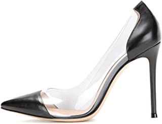Women's 100mm Pointed Toe Transparent High Heels Pumps Party Wedding Dress Shoes
