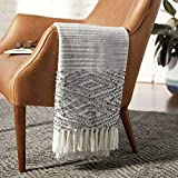 Amazon Brand – Rivet Modern Diamond Pattern Fringe Throw Blanket - 80 x 60 Inch, White