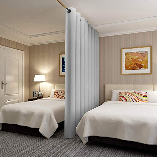 Rose Home Fashion RHF Privacy Room Divider Curtain 8ft Tall x 8.5 ft Wide: No one can See Through, Total Privacy(8.5x8) Grey (COMIN18JU094997)