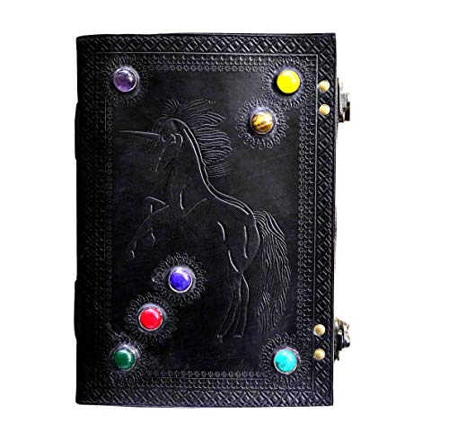 MONTEXOO Unicorn Celtic Leather Journal Seven Stone Handmade Large Journal with Lock Crystal Healing (Black)