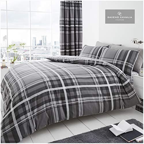Gaveno Cavailia Luxury NEWTON TARTAN CHECK Bed Set with Duvet Cover and Pillow Case, Polyester-Cotton, Grey, Double