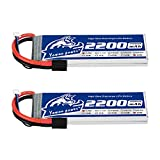 YOWOO 2 Packs 2200mAh 2S 7.4V 60C LiPo Battery Pack with Tracxas Plug Compatible with Tracxas 1/16 E-Revo VXL Summit Slash Losi 1/14 Mini 8ight and Rc Cars
