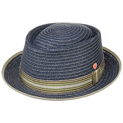 Mayser Sombrero de Paja Andy Pork Pie Hombre - Made in The EU Sol Playa con Banda Grosgrain, Grosgrain Primavera/Verano - 55 cm Azul